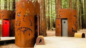 toilets sculpture in woods